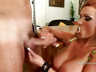 Mature whore with heavy tits gets her pierced cunt licked on desk