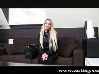 Shy golden-haired exploited in casting