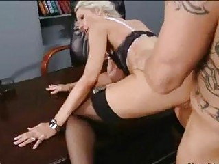 Bald hunk with tattoos nailing busy blonde in nylons in office