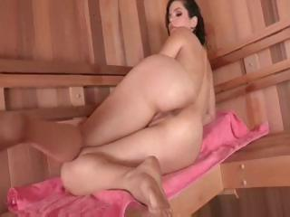 Brunette hair babe, Bobbi Starr gets caught playing with herself in the sauna and fucks his cock