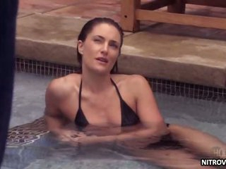 Marvelous Brunette Madchen Amick Swimming In a Bonerific Black Bikini