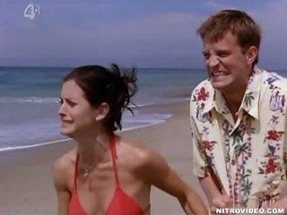 Sensual Brunette Courteney Cox Shows Her Rack In a Sexy Red Bikini