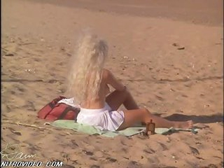 Sexy Karen Miers Sunbathing at the Beach