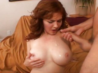 Hot dirty momma Victoria get a hot cum shower all over her tits and face