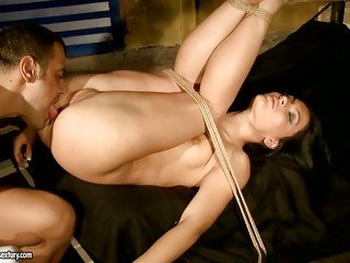 Honey Deamon getting tied up and drilled and loving every minute of it