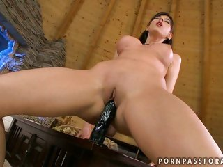Sexy babe Kendra pleasures her tight cum-hole with her favorite toy