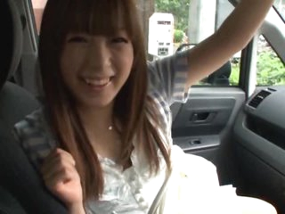 Lascivious Oriental Teen Hirono Imai Gets her Hairy Pussy Teased in a Moving Car
