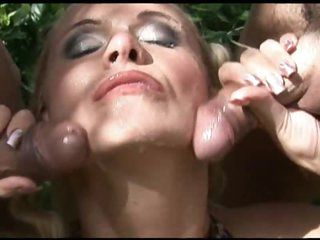 Lewd Blonde Gets DP and Facial Cumshot Outdoors