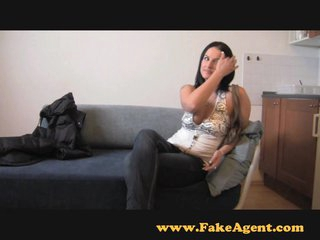 FakeAgent Horny dilettante gives saucy tit wank