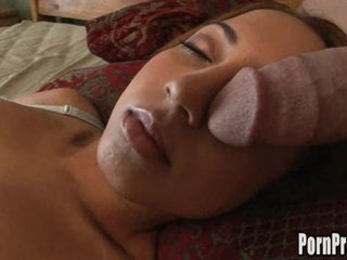 Veronique Vega's mouth on a giant cock while getting her 40 winks.