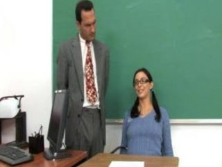 cute teen with glasses engulfing and riding her professors cock