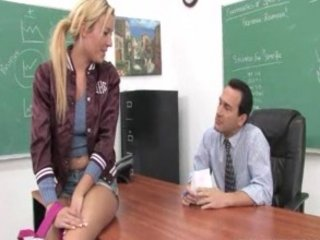 slutty blonde teen facialized and a hardcore fucking session with her prof