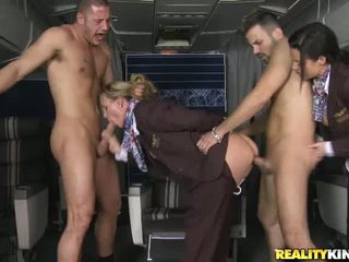 There are just two passengers and two hot stewardesses for them. Veronica Avluv and Tanya Tate gets fucked by naked guy with their uniform on. They love it in the ass.