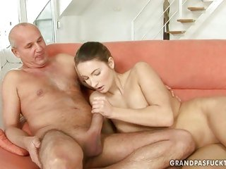 Pretty girl shows an old man what she can do with a throbbing dick