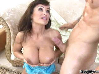 Busty hot Lisa Ann receives her precious boobies sauced with fresh cum