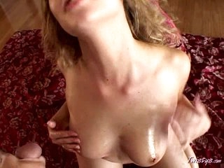 Horny Mysti May spanked her tiny melons with cum after blowjob