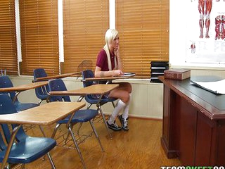 Blonde schoolgirl gets a good lesson