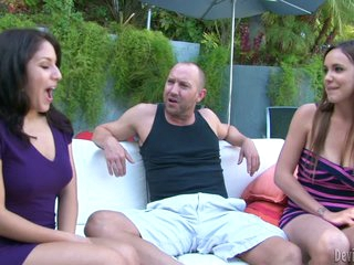 Lucky dude gets double sucked by Liv Aguilera and Sabrina Taylor