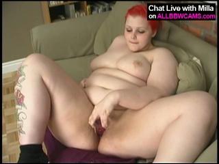 Redhead bbw milla monroe fucks pussy with dildo