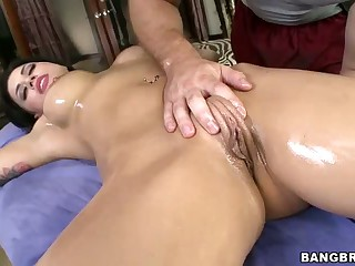 Eva Angelina shows it all to masseur and gets ass fucked