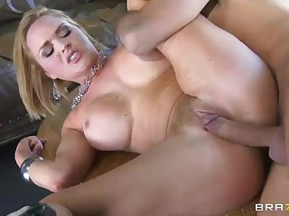 Big boobed Krissy Lynn takes a cock after striptease