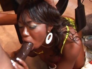 Dark babe Delotta Brown bounces on a big black dick