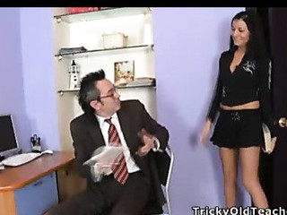 Jenny was in the teacher's office and helped him to pick up the papers, but in a short time that guy took off her pants and drilled her wet cunt.