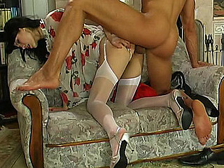 Sweltering dark brown in white plain-top nylons getting dildoed and poked