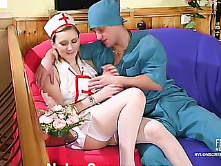Filthy nurse in white nylons knows how to please a doctor after hard day