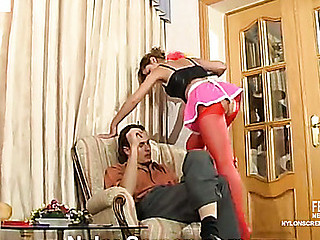 Mischievous French maid in red nylons cowgirl riding on rock-hard pecker