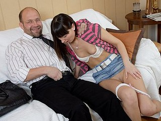 Unsightly teacher called his coed and made her fuck with him. That Guy pushed his rod inside her and stuck his tongue in beauty's mouth.