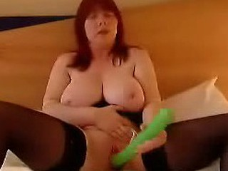 Chubby girl got the biggest dildo in her town; she locked in the bedroom to take on camera how this giant green cock intrudes her killingly.