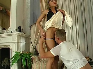 Stylish older blond teases a guy and plays numbers game previous to sexy banging