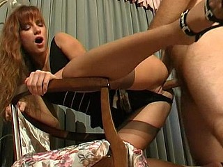 Lusty chick in tan nylons and sexy worker in weenie-riding frenzy on stool