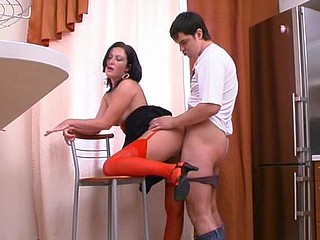 Vivacious chick in red nylons taking the almost all from her sexy sex desire