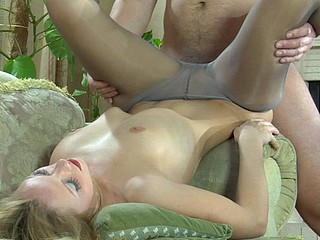 Blond doll gets her petticoat hiked up exposing her fuckable pantyhosed slit