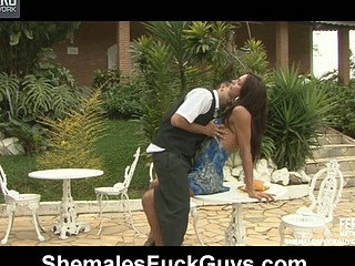 Lewd t-angel starts it slowly giving a kiss a waiter and letting him engulf her penis
