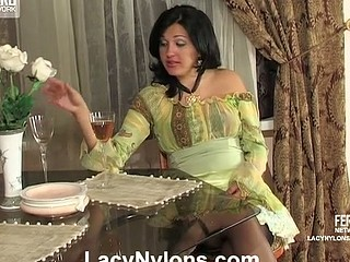 Shy coed in white nylons summoned to the teacher learning lesbo tricks