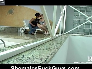Sexy shemale and horny guy having mind-blowing pleasure in a-hole-riding bout