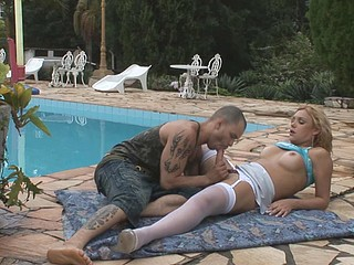 Awesome tgirl letting guy engulf her dong previous to butt-plundering by the pool