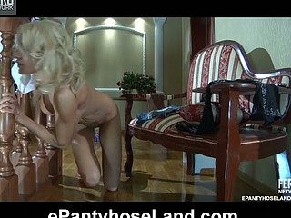 Gorgeous golden-haired graces her lengthy legs with fine sheer and fashion hose