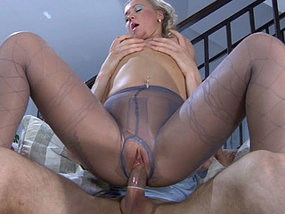 Masturbating gal in mock stocking hose getting her wet crack packed with meat