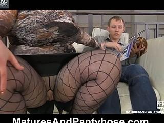 Older fatty slammed thru her laddered fashion hose by a horny next-door lad