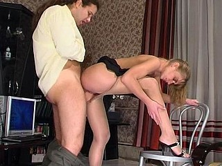 Awesome chick in slight sheen hose luring co-worker into dong break