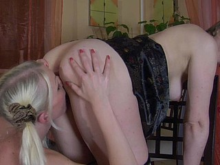 Legal Age Teenager blondie hikes up her petticoat to strap-on fuck a mother i'd like to fuck