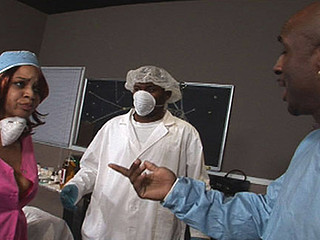 Sierra and Kim are in the surgery room, below the knife for bigger asses! When the surgery went down, so did the nurses on a large chubby black cock! Their large luscious black butts did all the operating and with titties like those, the procedure was a definite success! Code 40, those slutty nurses need weenie, STAT! ...