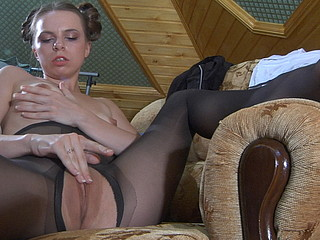 Sweetheart in-heat wearing black open crotch hose for some urgent love button rubbing