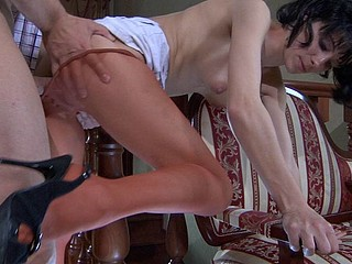 Sexy smoker in elegant control top hose and high heels getting pumped