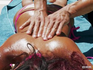 Asian horny babe with busty big boobs Priya Anjali Rai is having a moment of her lifetime. One hot & sexy guy  was giving her an oily massage in the outdoor. And under the bright shining sun Priya knew that the massage man is taking her clothes one after another to seduce her. The horny bitch didn't complain but played accordingly and soon the guy realized that Priya share the same idea with her wet tight pussy. So he rubbed and squeezed those nice ass-buns and the oily tits well and started an finger orgasm in her wet pussy. Well the game started and so does the moaning!