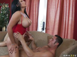 This hot MILF in red dress or out of most of that dress, has big boobs and is receiving quite a treatment from a big penis. She has to take it in her holes and that also in different positions and to cap it all she rides the cock as well.